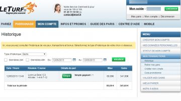Gain de 341,60 euros avec la base de TURBO PRONO